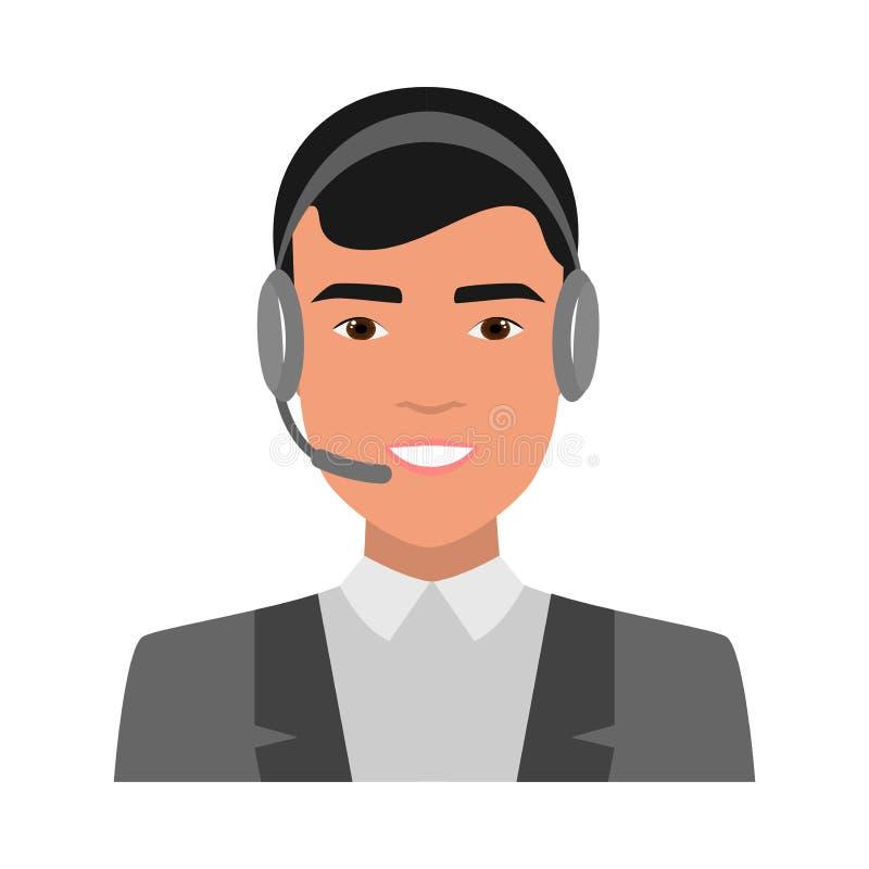 Jeune garçon de sourire mignon, opérateur de centre d'appels illustration de vecteur