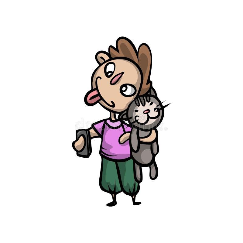 Jeune garçon drôle mignon prendre un chat pour faire un selfie illustration stock