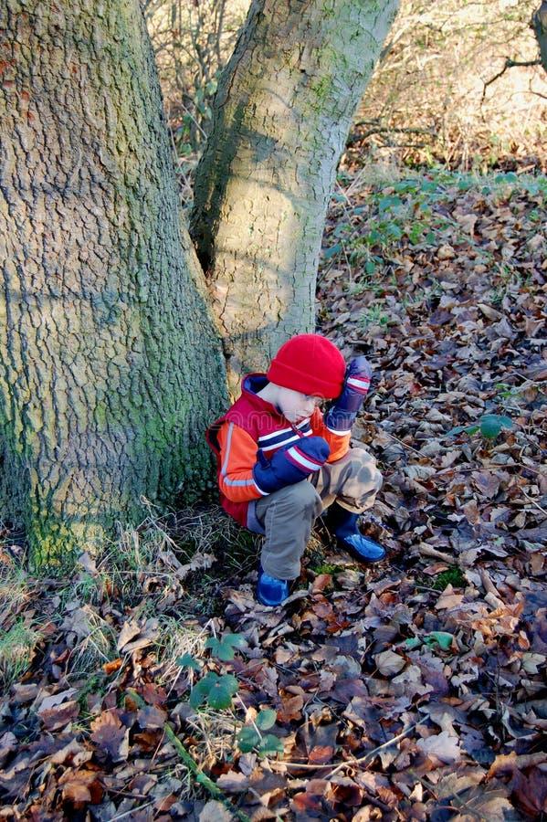 Jeune garçon fatigué sur une promenade de forêt images libres de droits