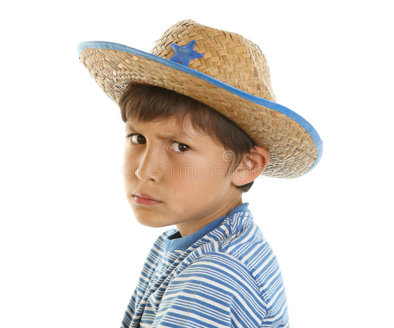Jeune garçon feignant pour être dur image stock
