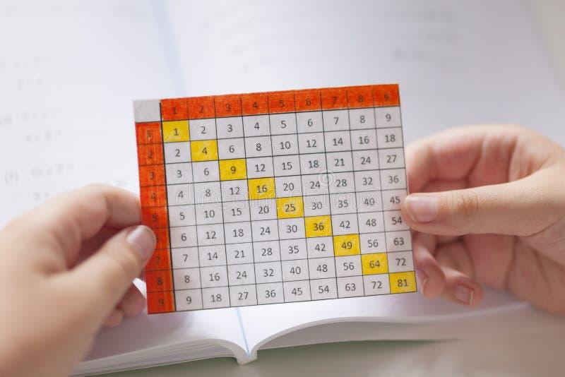 Jeune garçon tenant une table de multiplication dans des ses mains image stock