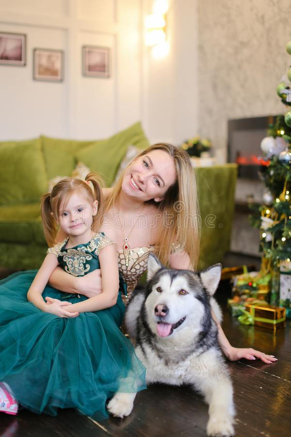 Jeune gentille mère avec la petite fille et le malamute se reposant près de l'arbre de Noël proche image libre de droits