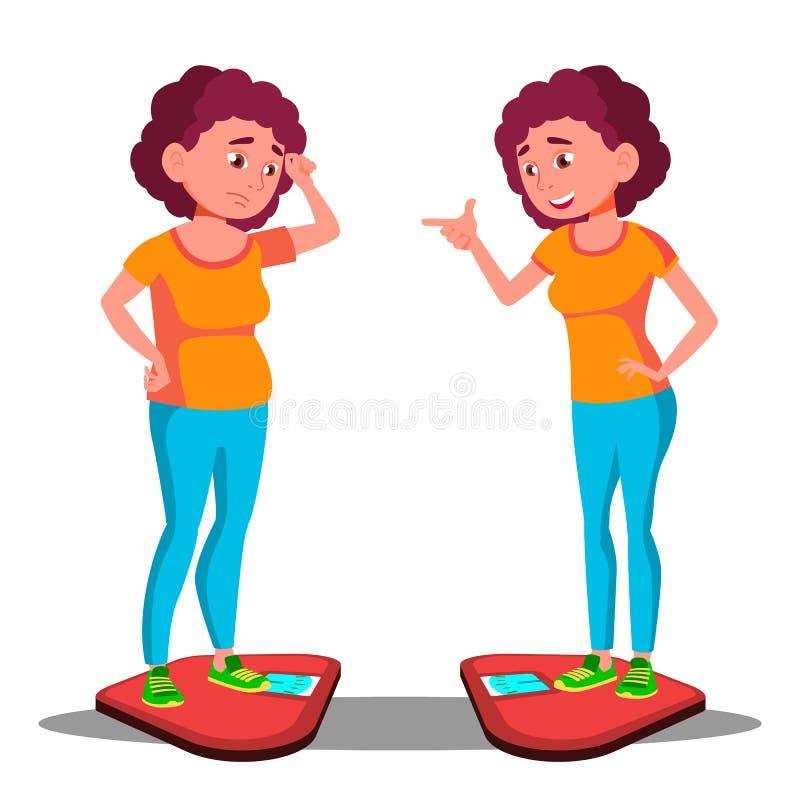 Jeune grosse fille triste sur les échelles, fille mince heureuse sur le vecteur d'échelles Avant, après régime Illustration d'iso illustration libre de droits