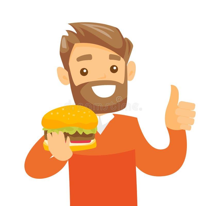 Jeune hamburger mangeur d'hommes blanc caucasien illustration stock