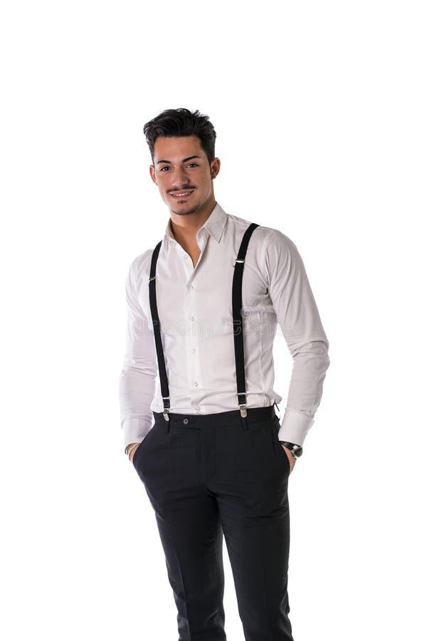 Jeune homme élégant beau avec le costume photo stock