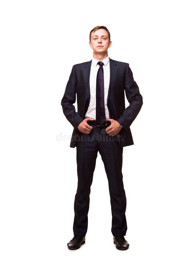 Jeune homme élégant dans le costume et le lien Type d'affaires Homme bel tenant et regardant l'appareil-photo image stock