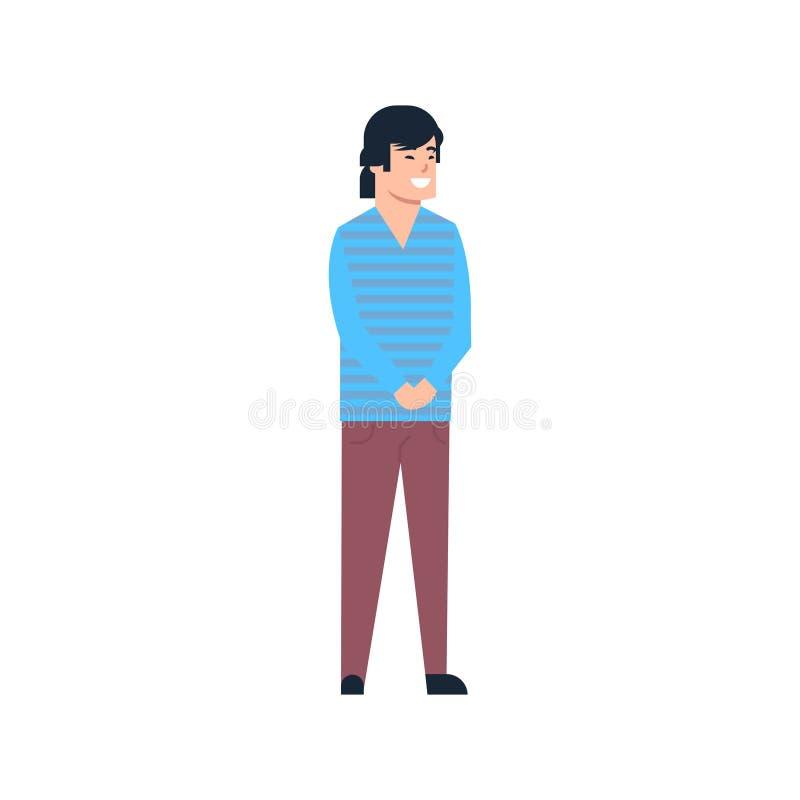 Jeune homme asiatique chinois ou mâle japonais portant intégral de vêtements sport d'isolement illustration de vecteur