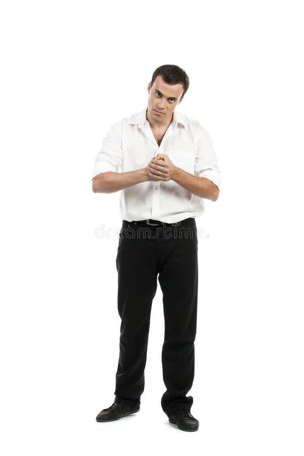 Jeune homme attirant dans la pose de combat image stock