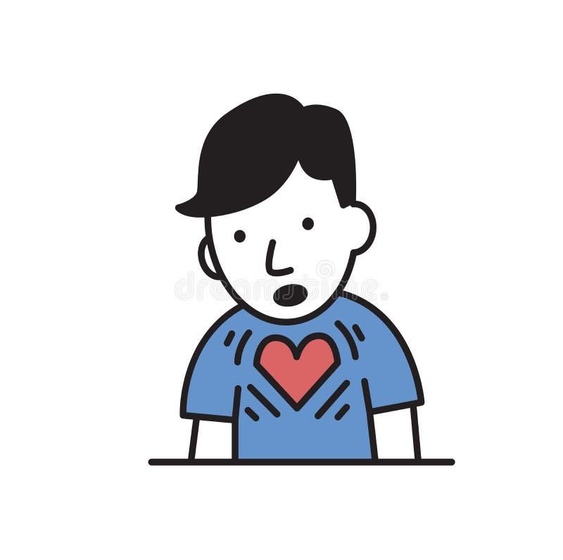 Jeune homme avec la crise cardiaque Icône plate de conception Illustration plate de vecteur D'isolement sur le fond blanc illustration stock