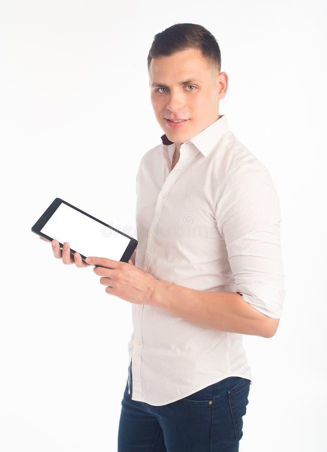Jeune homme avec la tablette image libre de droits