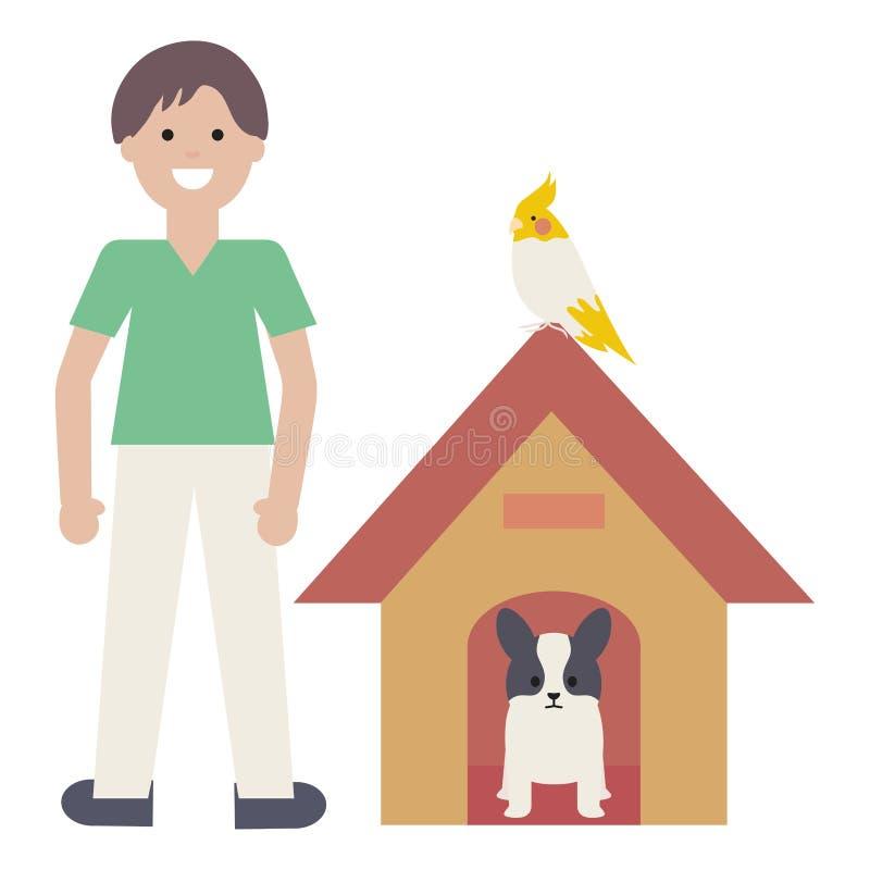 Jeune homme avec le chien et l'oiseau dans la maison en bois illustration stock