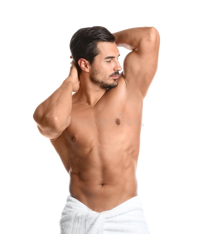 Jeune homme avec le corps mince sur le blanc photo stock