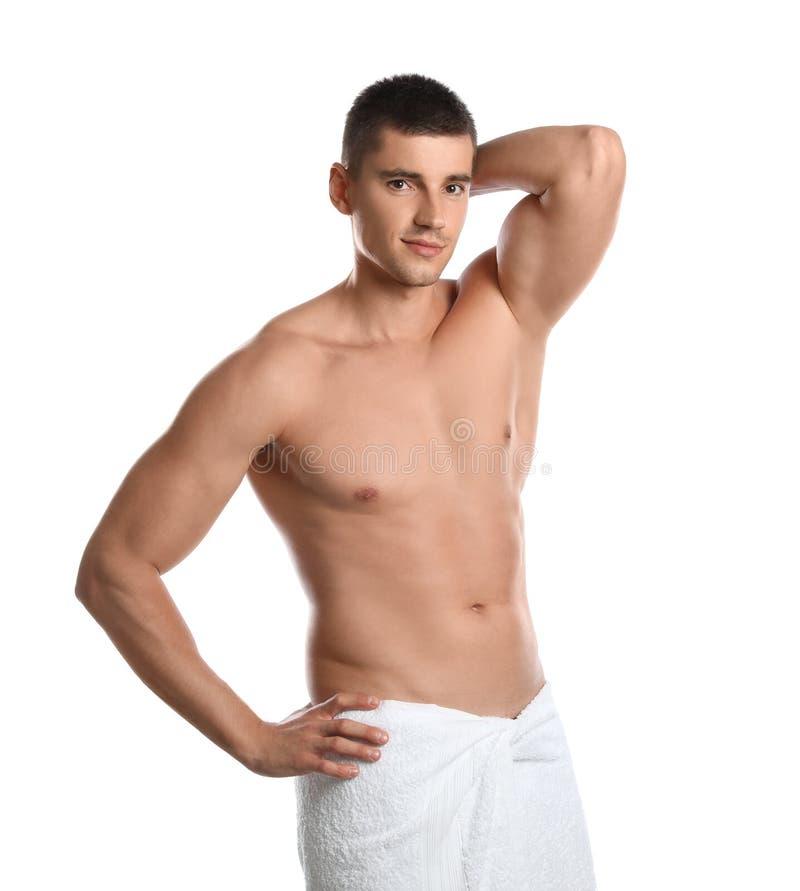 Jeune homme avec le corps mince sur le blanc image libre de droits