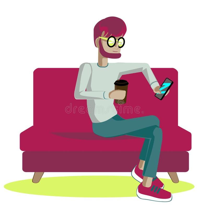 Jeune homme avec le smartphone et le café photo stock
