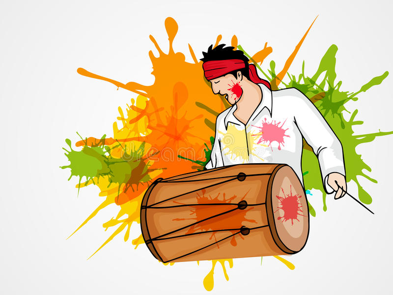 Jeune homme avec le tambour pour la célébration heureuse de festival de Holi illustration stock