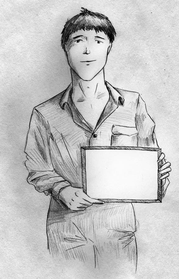 Jeune Homme Avec Un Signe Photographie stock