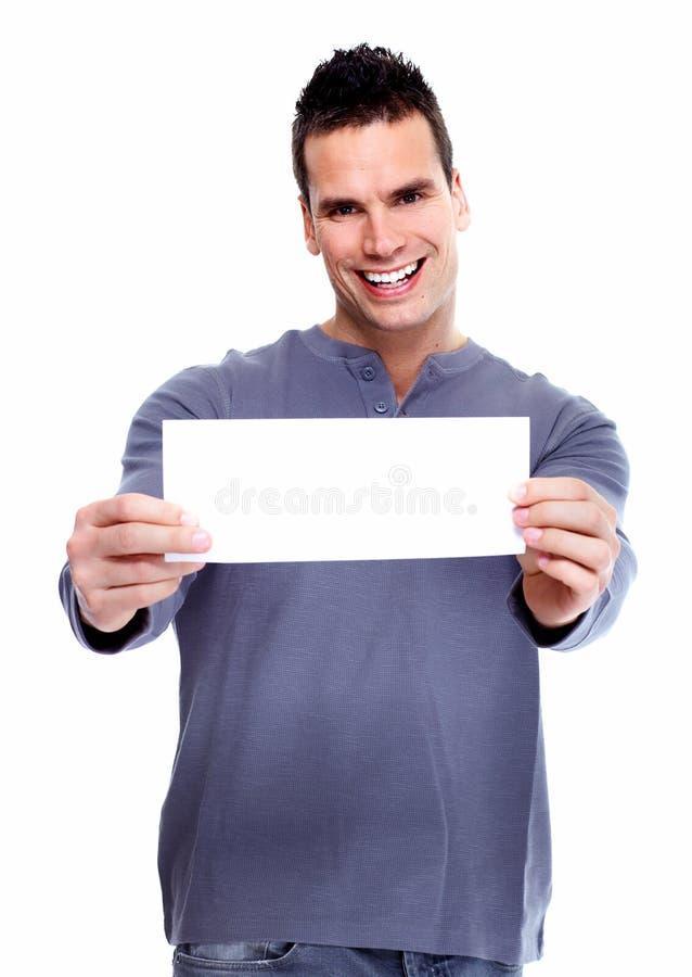 Jeune homme avec une bannière. image stock