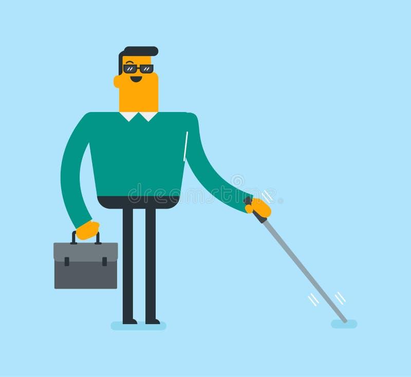 Jeune homme aveugle blanc caucasien avec un bâton illustration de vecteur