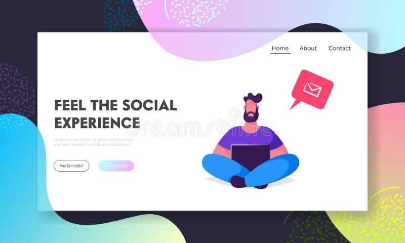Jeune homme barbu s'asseyant avec l'ordinateur portable dans des mains et communiquant dans l'Internet Discours social de bulle d illustration libre de droits