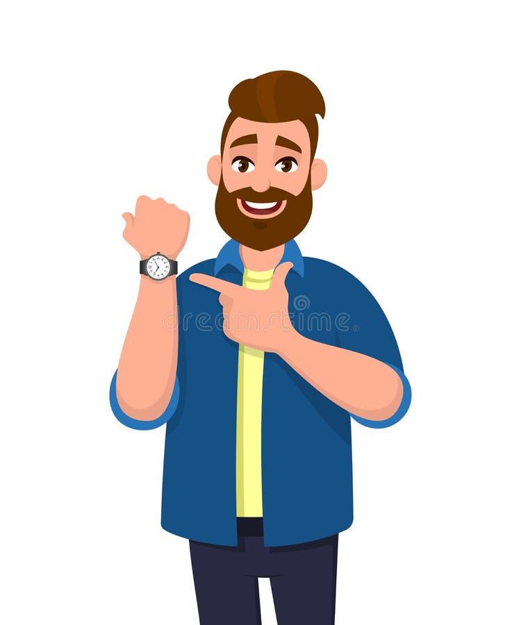 Jeune homme barbu se dirigeant ou montrant le temps sur sa montre-bracelet Illustration masculine de conception de personnages La illustration libre de droits