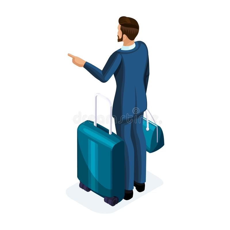 Jeune homme beau d'Isometrics A en voyage d'affaires, se tenant avec son bagage, vue arrière Homme d'affaires de déplacement illustration stock