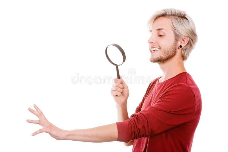 Jeune homme beau narcissique image stock