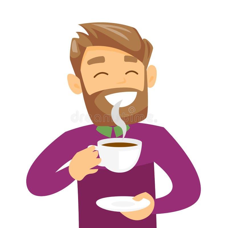 Jeune homme blanc caucasien appréciant la tasse de café illustration libre de droits