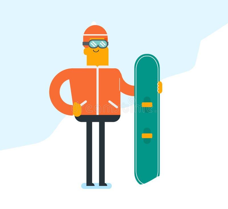 Jeune homme blanc caucasien avec un surf des neiges illustration libre de droits