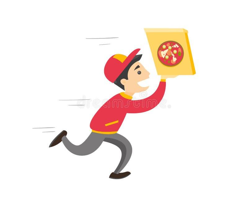 Jeune homme blanc caucasien courant avec la pizza illustration stock