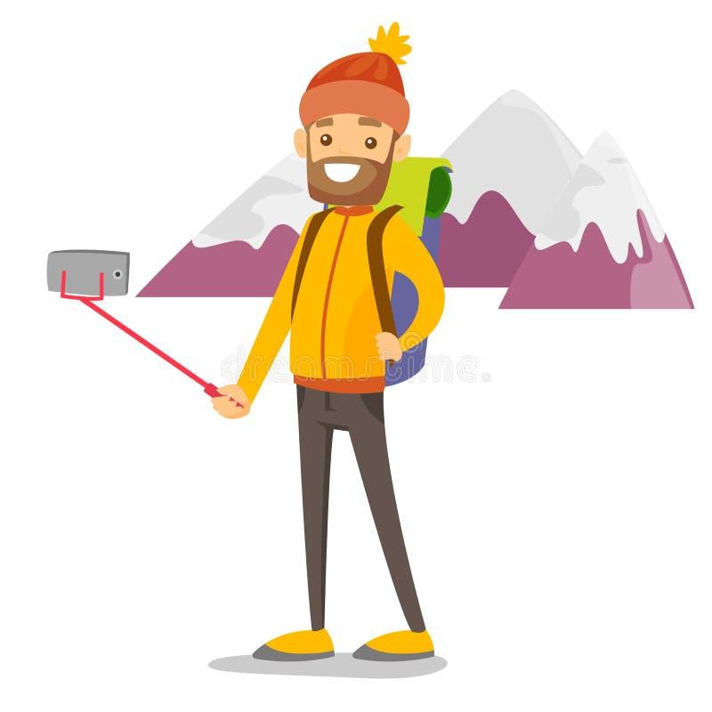 Jeune homme blanc caucasien de voyageur faisant le selfie illustration de vecteur