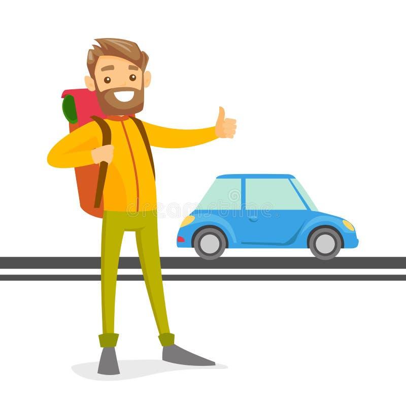 Jeune homme blanc caucasien essayant d'arrêter un taxi illustration libre de droits