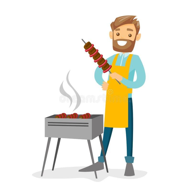 Jeune homme blanc caucasien faisant cuire le shashlik illustration de vecteur