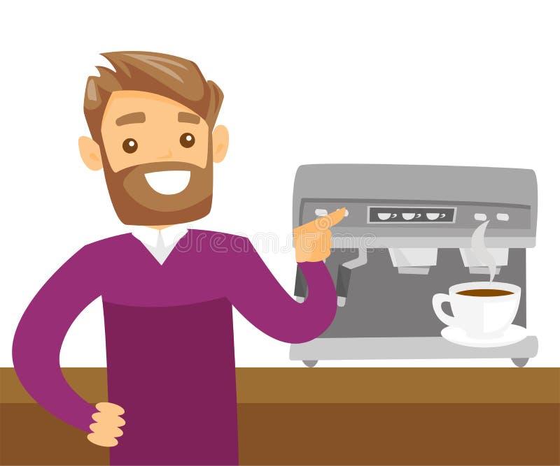 Jeune homme blanc caucasien faisant le café illustration libre de droits