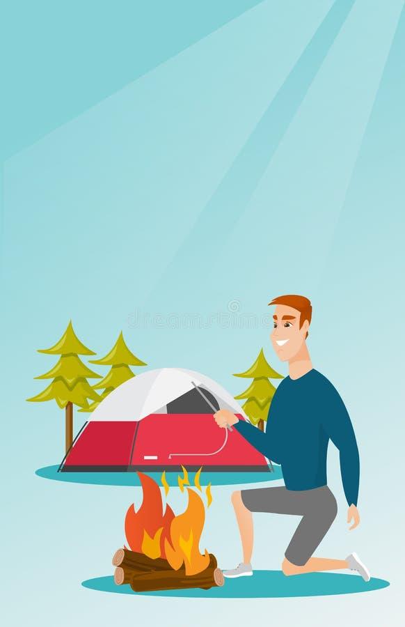 Jeune homme blanc caucasien faisant le feu de camp illustration de vecteur