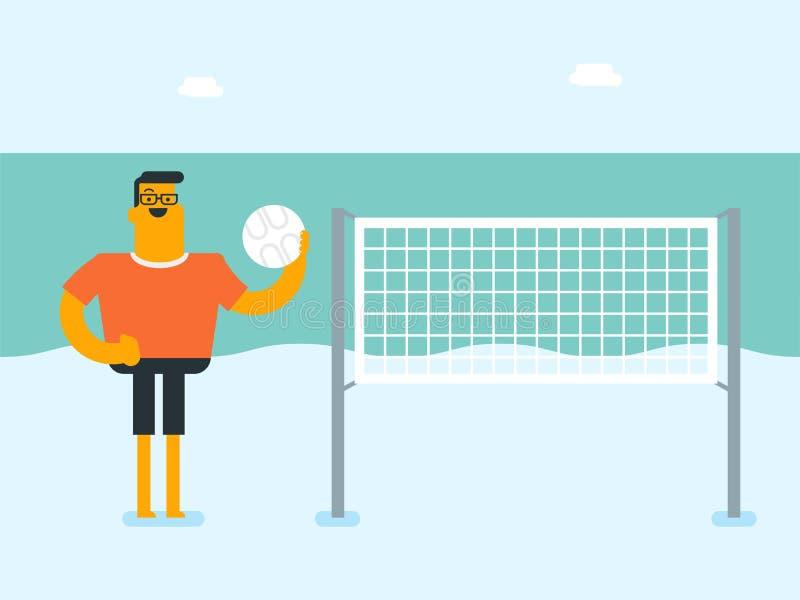 Jeune homme blanc caucasien jouant le volleyball de plage illustration stock