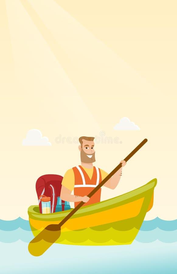 Jeune homme blanc caucasien montant un kayak illustration libre de droits