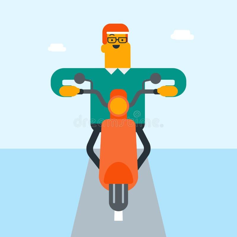 Jeune homme blanc caucasien montant une moto illustration stock