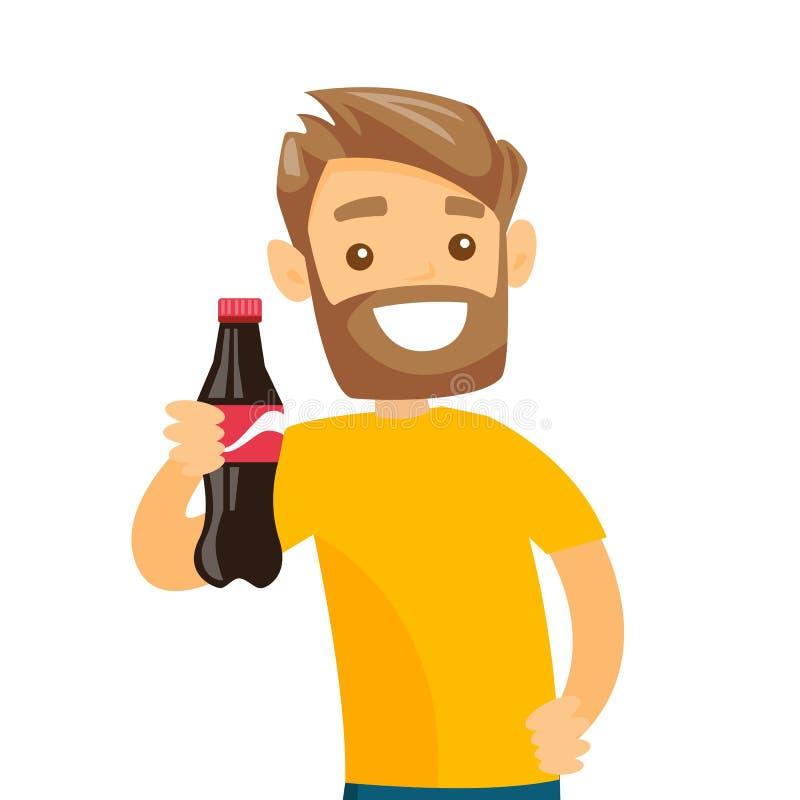 Jeune homme blanc caucasien tenant la bouteille de soude illustration de vecteur