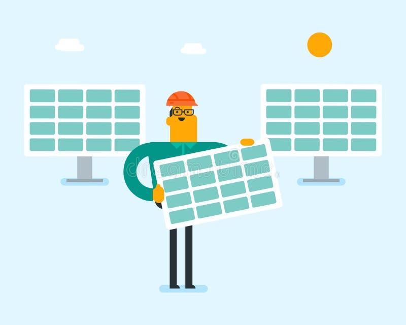Jeune homme blanc caucasien tenant le panneau solaire illustration de vecteur