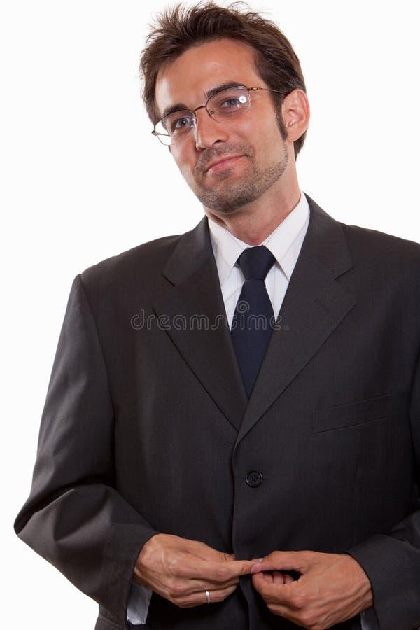 Jeune homme caucasien attirant dans le procès d'affaires photo stock