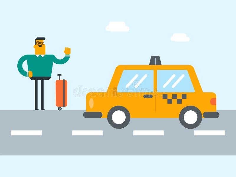 Jeune homme caucasien avec une valise faisant de l'auto-stop illustration de vecteur