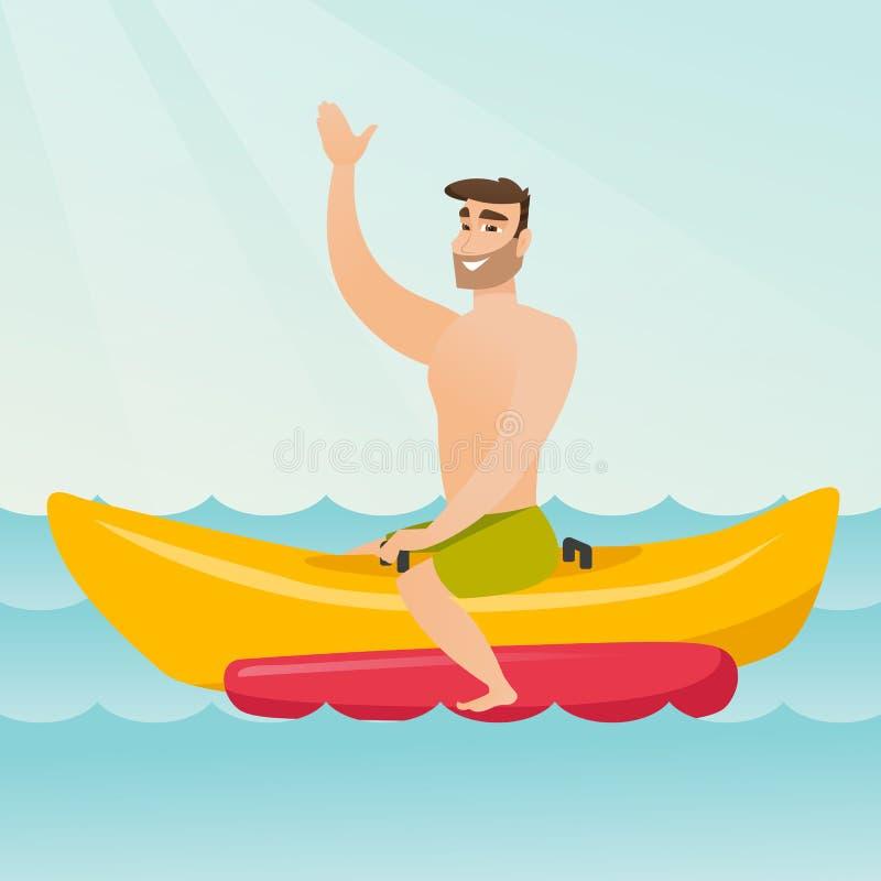 Jeune homme caucasien heureux montant un bateau de banane illustration de vecteur
