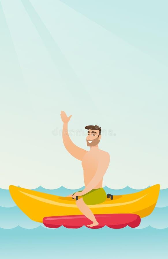 Jeune homme caucasien heureux montant un bateau de banane illustration libre de droits
