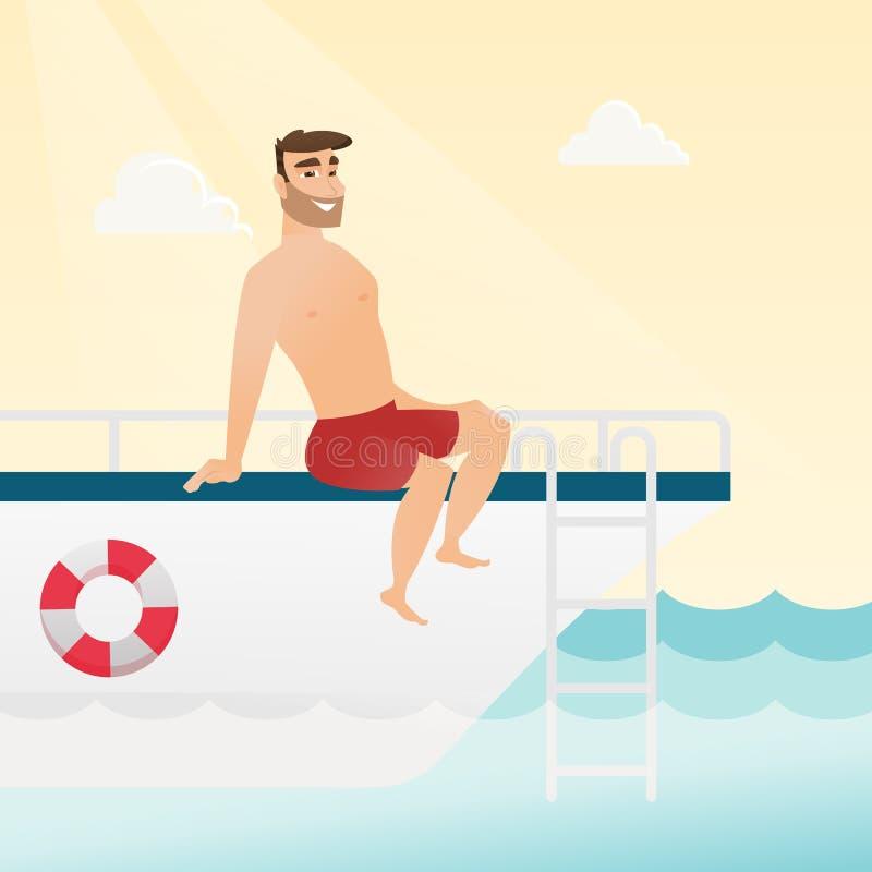 Jeune homme caucasien se bronzant sur le yacht illustration de vecteur