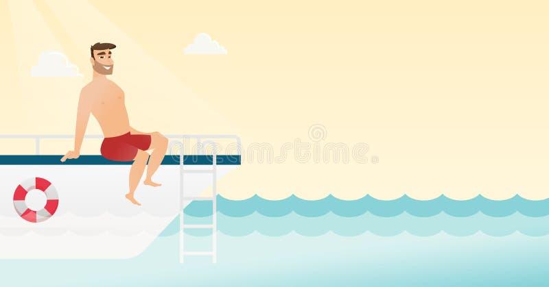 Jeune homme caucasien se bronzant sur le yacht illustration stock
