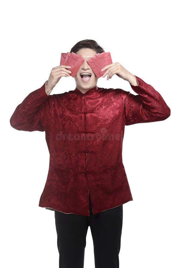 Jeune homme chinois dans le costume de cheongsam photos stock