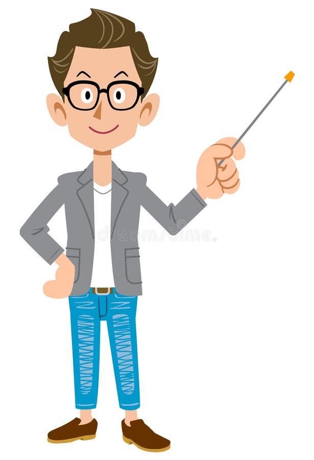jeune homme comme un créateur dans une veste avec un bâton de pointage illustration de vecteur
