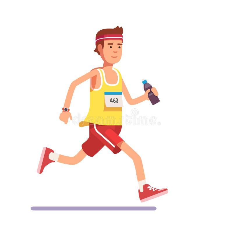 Jeune homme courant un marathon illustration de vecteur