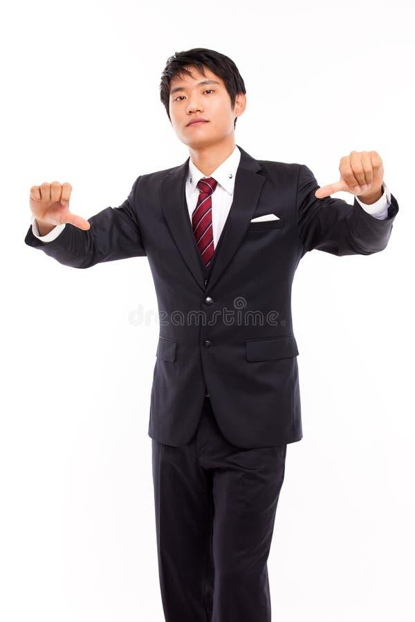 Jeune homme déçu d'affaires image stock