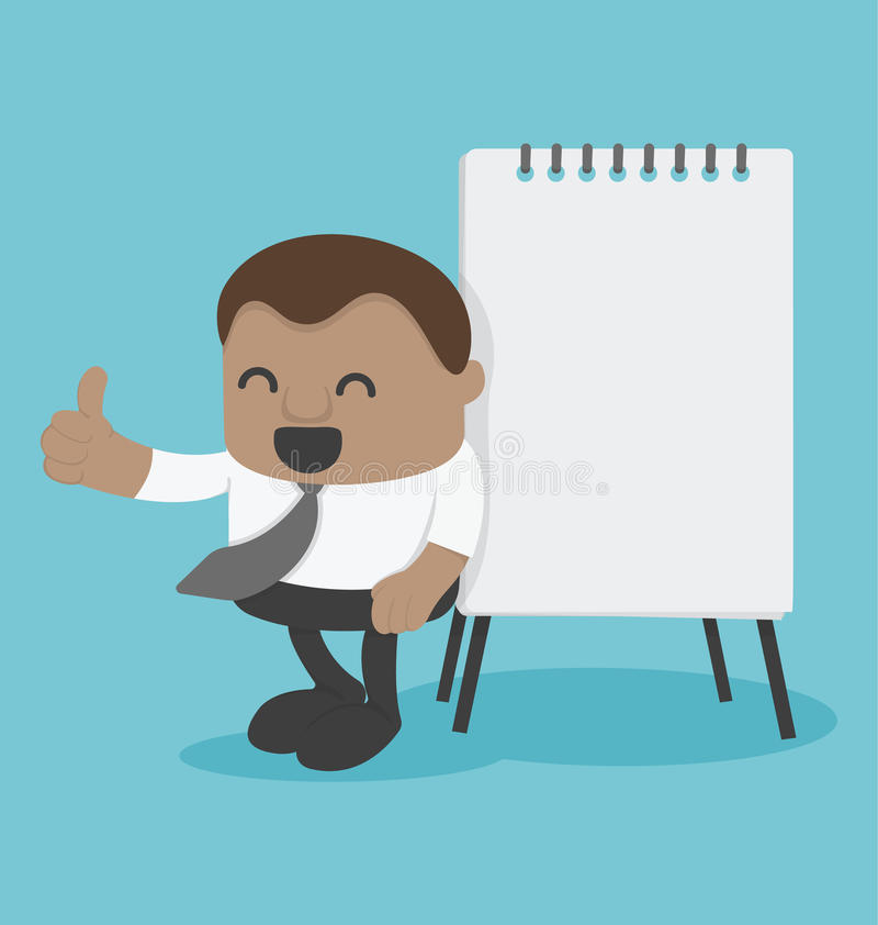 Jeune homme d'affaires africain de concept avec le tableau de conférence illustration de vecteur
